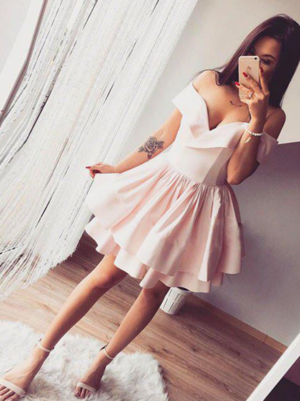 Sweet A-Line Off-the-Shoulder Cut Satin Short Dresses