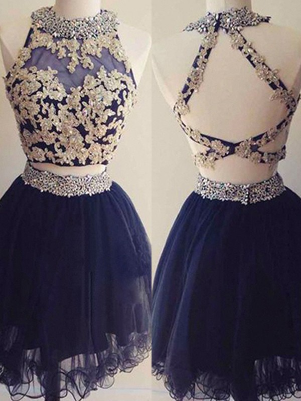 Hot A-Line Halter Cut Tulle With Beading Short Two Piece Dresses