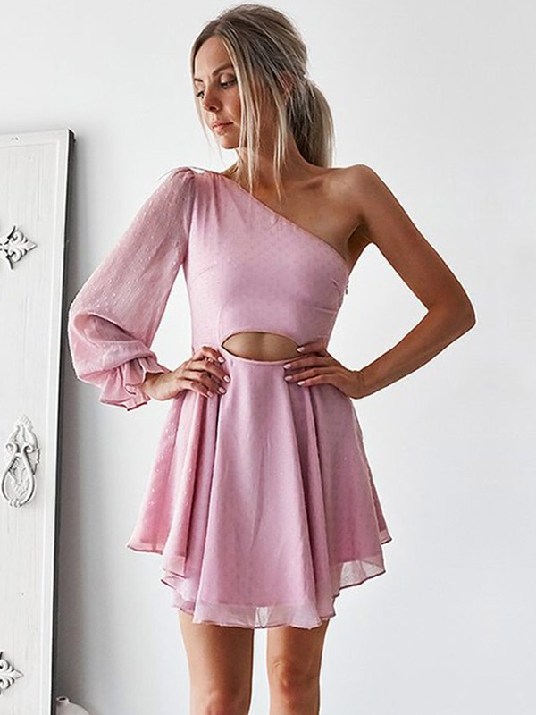 Charming A-Line Chiffon One-Shoulder Cut Ruffles Short Dresses