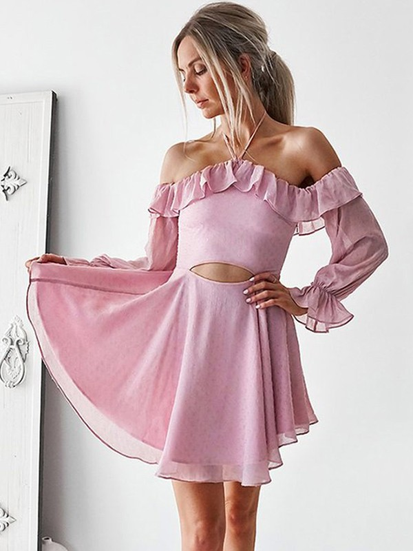 Awesome A-Line Ruffles Off-the-Shoulder Cut Chiffon Short Dresses