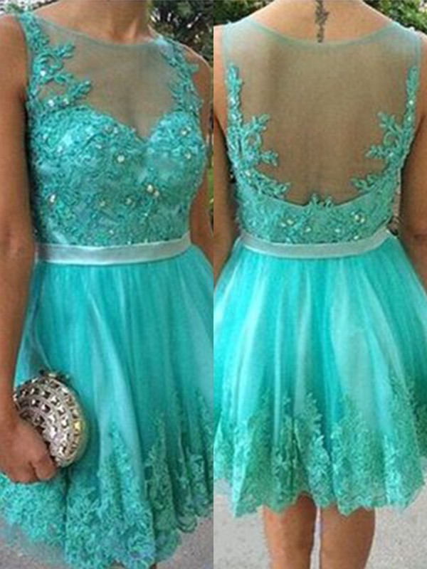 Glamorous A-Line With Applique Scoop Cut Tulle Short Dresses