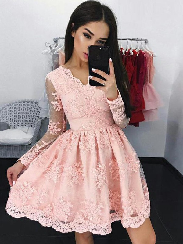 Fashional A-Line Lace Long Sleeves With Applique V-neck Short Dresses
