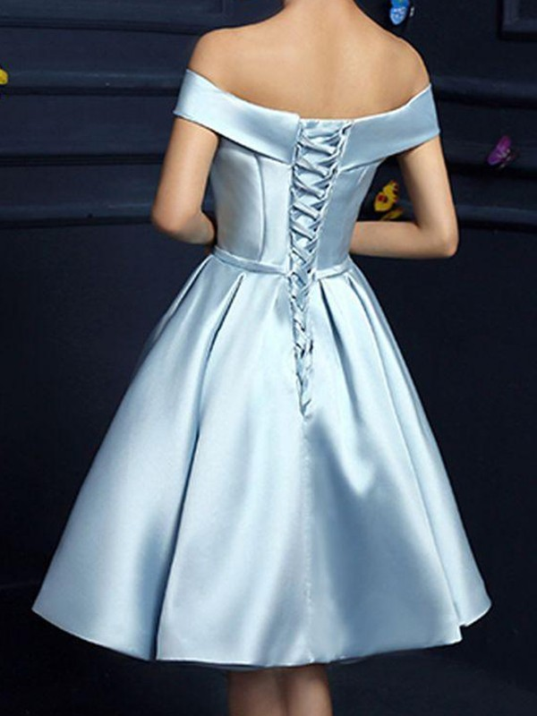 Shining A-Line Satin Off-the-Shoulder With Bowknot Sleeveless Short Dresses