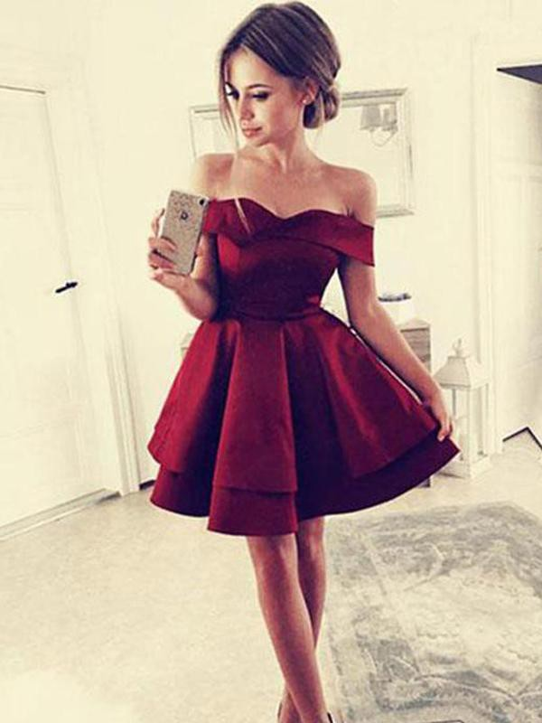 Attractive A-Line Ruffles Satin Off-the-Shoulder Sleeveless Short Dresses