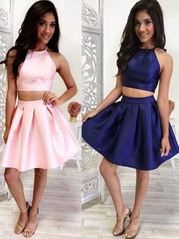 Dreamlike A-Line With Ruffles Halter Satin Sleeveless Short Two Piece Dresses