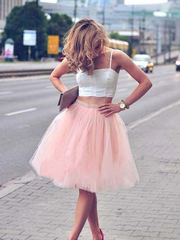 Modern A-Line Tulle Sleeveless With Pleats Spaghetti Straps Short Two Piece Dresses
