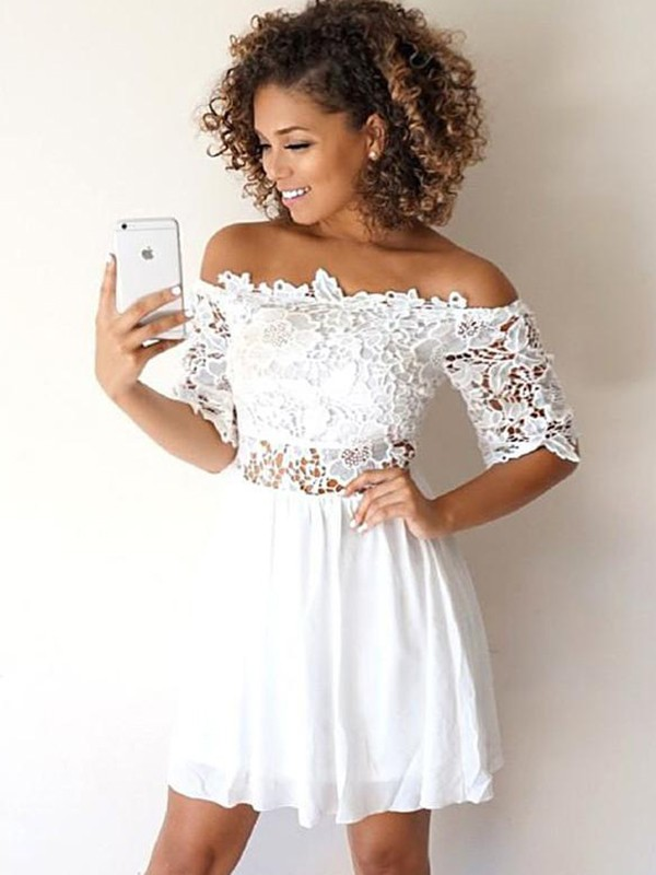 Chic A-Line Chiffon With Applique Off-the-Shoulder 1/2 Sleeves Short Dresses