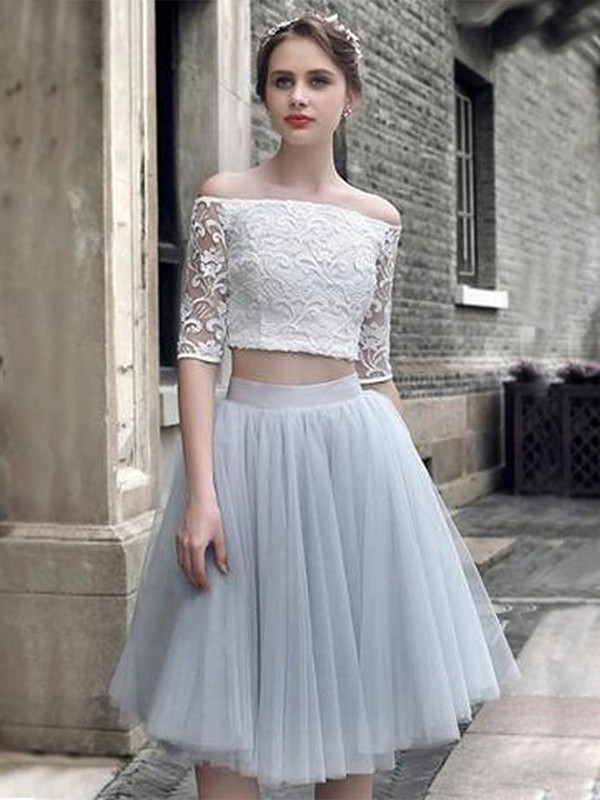 Sweet A-Line Tulle With Ruched Off-the-Shoulder 1/2 Sleeves Short Two Piece Dresses