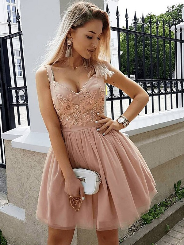 Shining A-Line Straps Cut Tulle With Beading Short Dresses