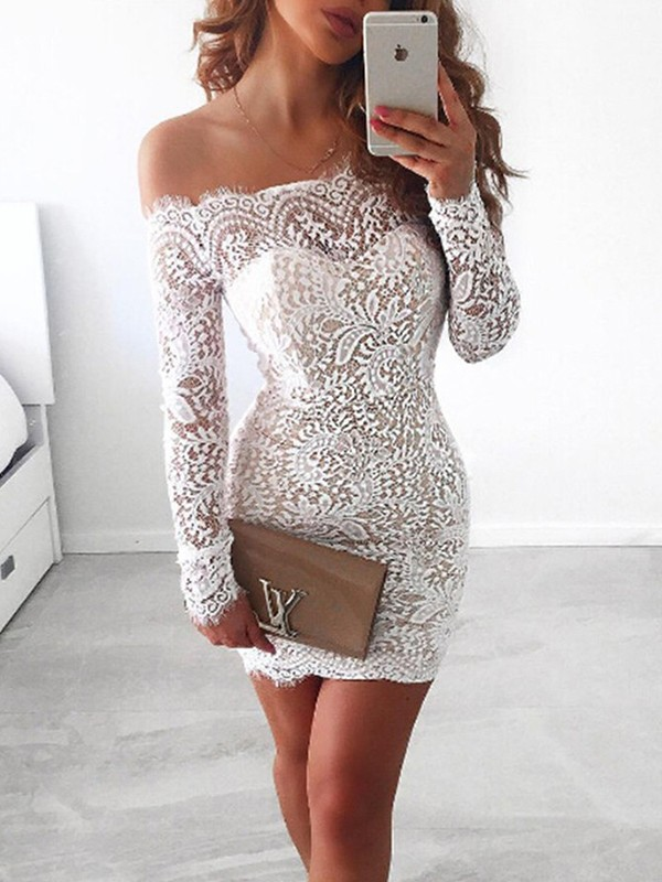 Bright Sheath Off-the-Shoulder Cut Lace Short Dresses