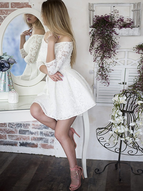 Dreamlike A-Line With Ruffles Off-the-Shoulder Cut Lace Short Dresses