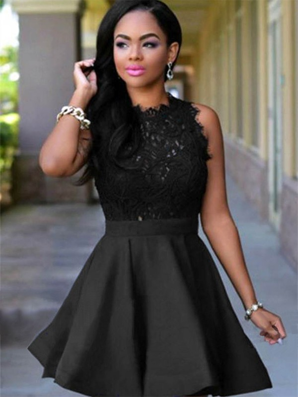 Pretty A-Line Jewel Cut Short With Lace Satin Dresses