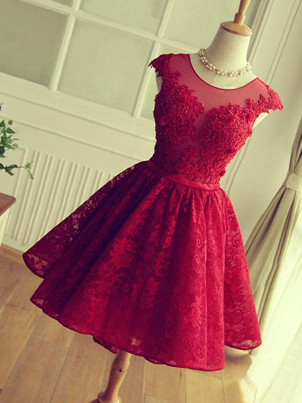 Gorgeous A-Line Jewel Cut Short With Applique Lace Dresses