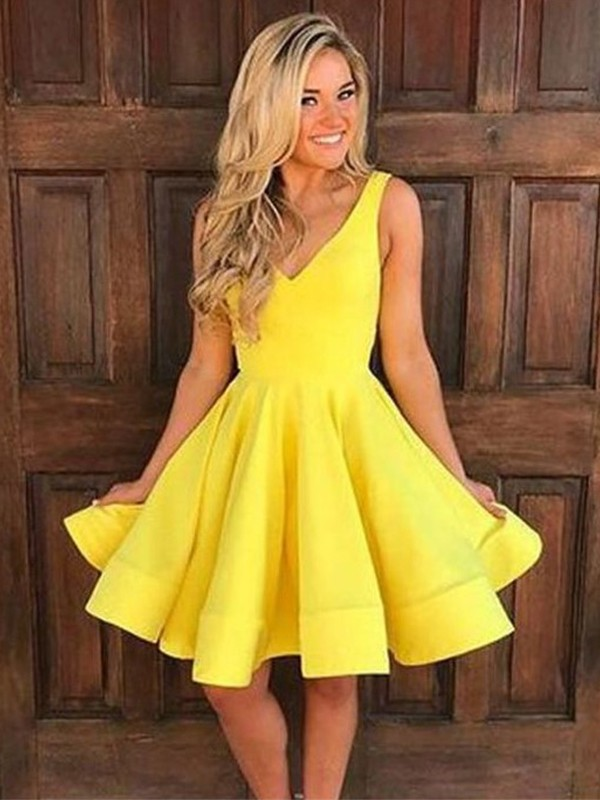 Chic A-Line Sleeveless Straps Cut Satin With Ruffles Short Dresses