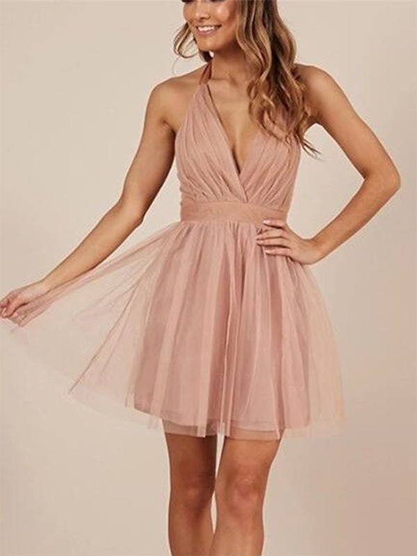 Glamorous A-Line Sleeveless Halter Cut Tulle With Ruffles Short Dresses