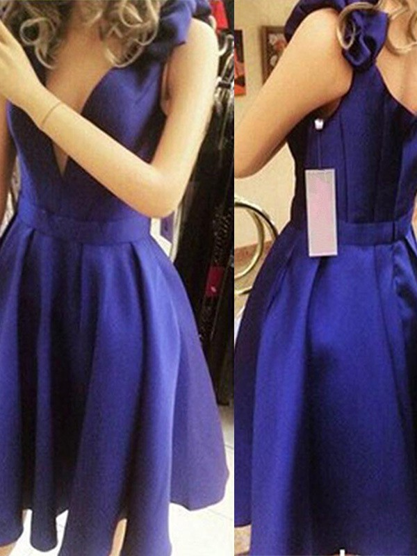 Gorgeous A-Line Sleeveless Straps Cut Satin With Bowknot Short Dresses