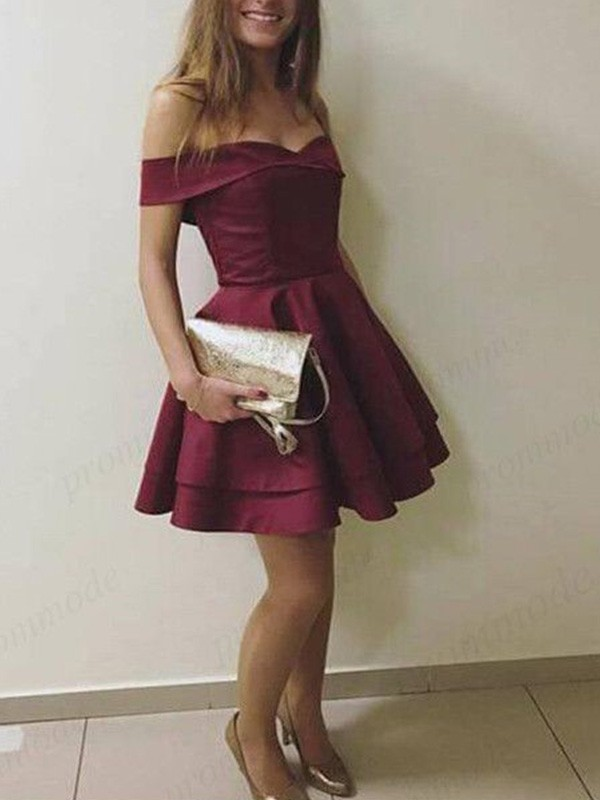 Nice A-Line Sleeveless Off-the-Shoulder Cut Satin With Layers Short Dresses