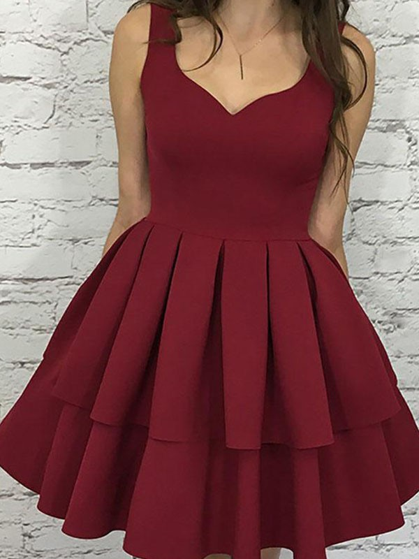 Awesome A-Line Sleeveless Straps Cut Satin With Layers Short Dresses