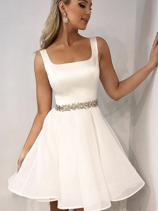 Exquisite A-Line Sleeveless Straps Cut Chiffon With Beading Short Dresses