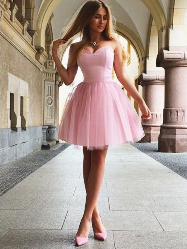 Shining A-Line Sweetheart Cut With Ruffles Sleeveless Satin Short Dresses