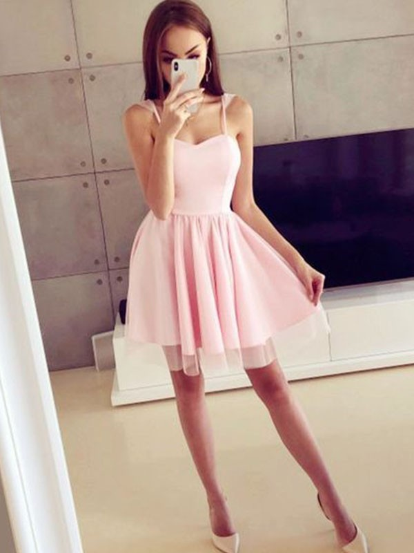 Bright A-Line Satin Spaghetti Straps Cut With Ruched Sleeveless Short Dresses