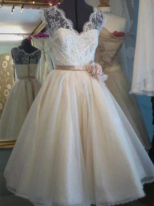 Stunning A-Line V-neck Cut Knee-Length Lace With Sash/Ribbon/Belt Tulle Wedding Dresses