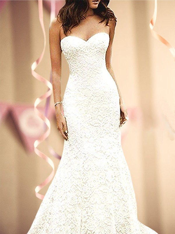 Romantic Mermaid Sweetheart Cut Long lace Wedding Dresses