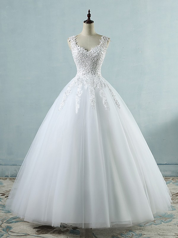 Special Ball Gown V-neck Cut Sweetheart Cut Long With Applique Tulle Wedding Dresses