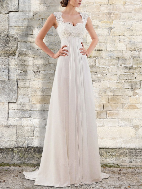 Dreamlike Empire Long Bateau Chiffon Wedding Dresses
