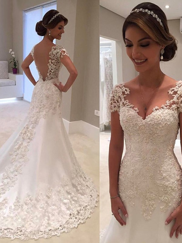 Soft Mermaid Short Sleeves Sweetheart Cut Long Lace Wedding Dresses
