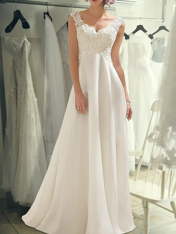 Radiant Empire Long V-neck Cut Lace Chiffon Wedding Dresses