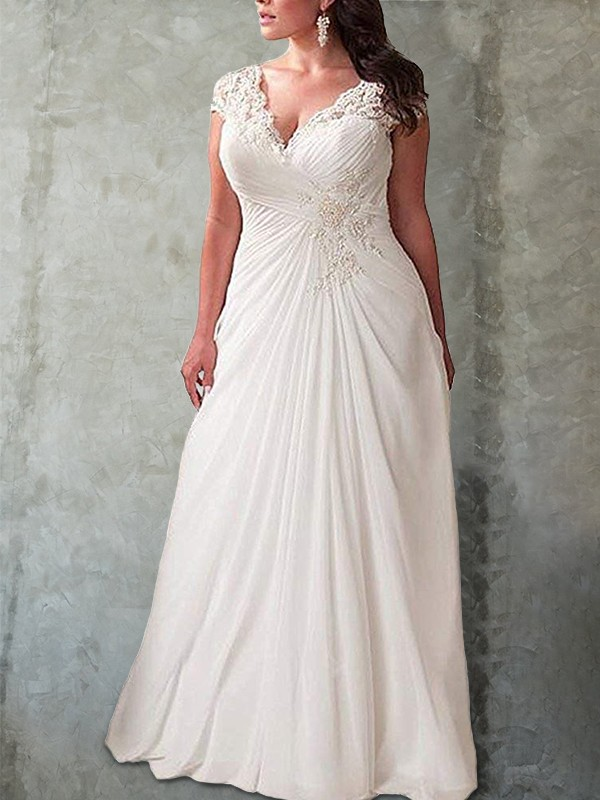 Smart Empire Sweetheart Cut Lace Long Chiffon Plus Size Wedding Dresses