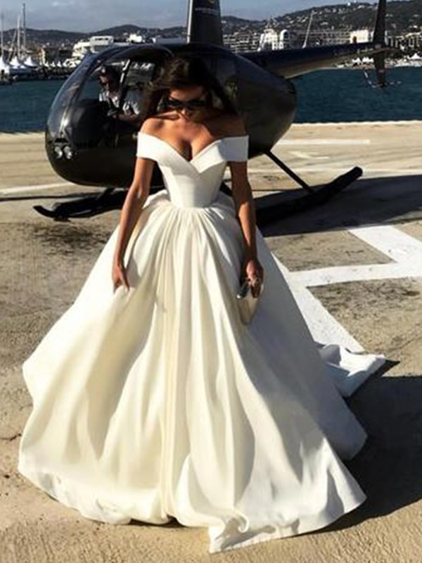 Nice Ball Gown Off-the-Shoulder Cut Long Satin Wedding Dresses