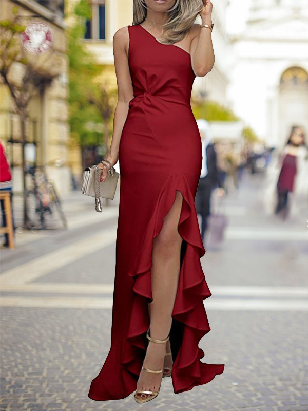 Stylish Sheath One-Shoulder Cut Long With Ruffles Silk Like Satin Dresses