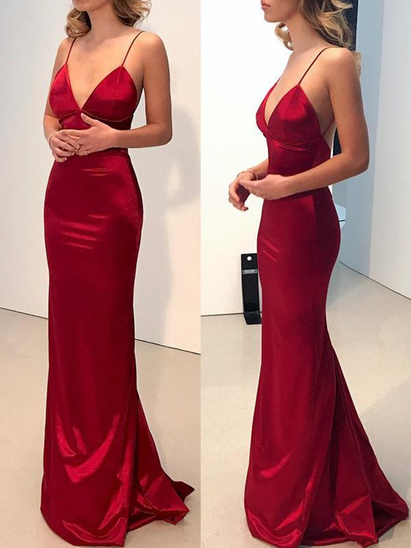 Glamorous Sheath Spaghetti Straps V-neck Cut Long Silk Like Satin Dresses