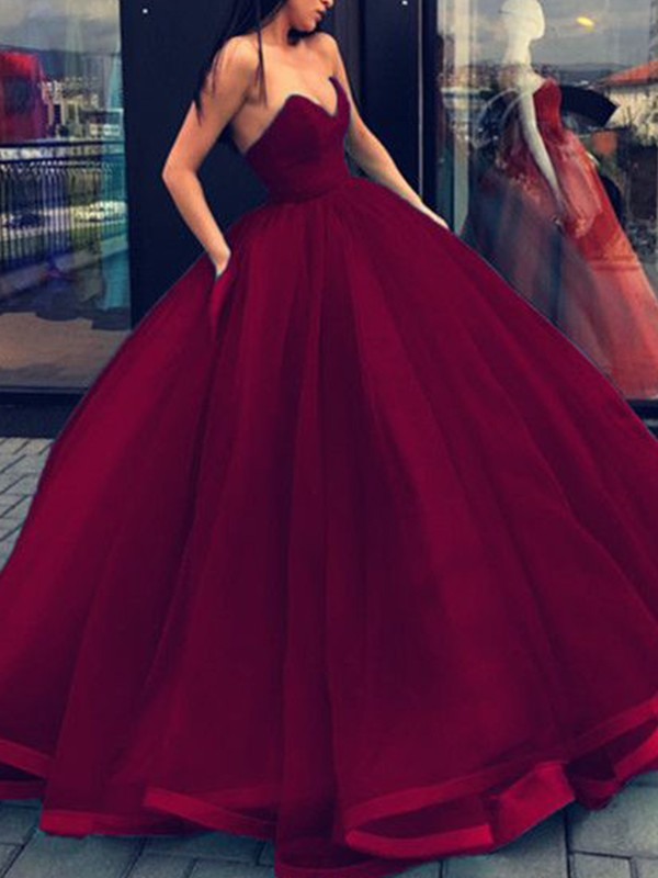 Trendy Ball Gown Sweetheart Cut Organza Long Dresses