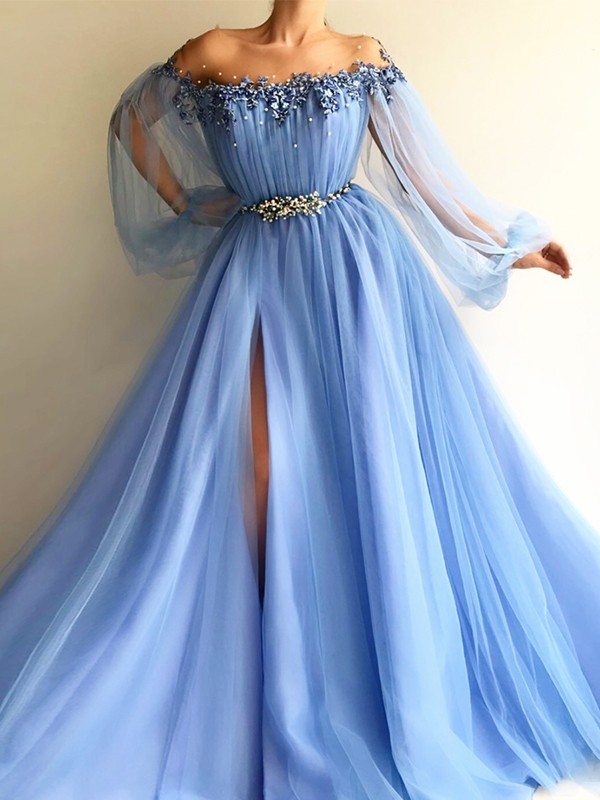 Pretty A-Line Off-the-Shoulder Cut Tulle With Beading Long Dresses