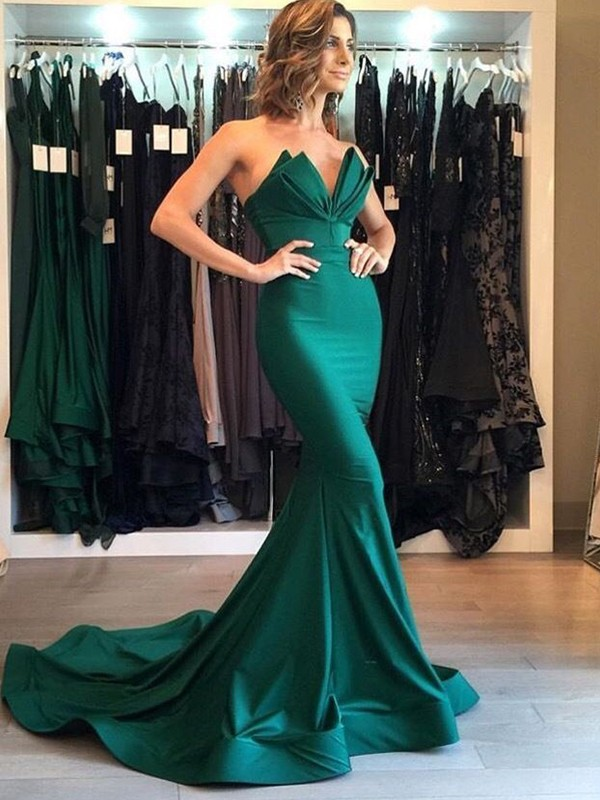 Gorgeous Mermaid V-neck Cut Long Satin Dresses