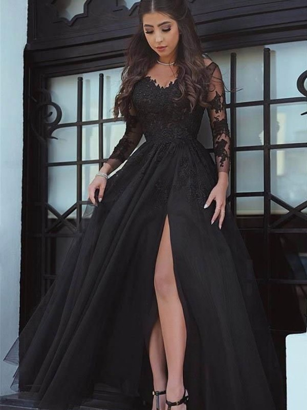 Nice Ball Gown Off-the-Shoulder Cut Long Lace With Applique Dresses
