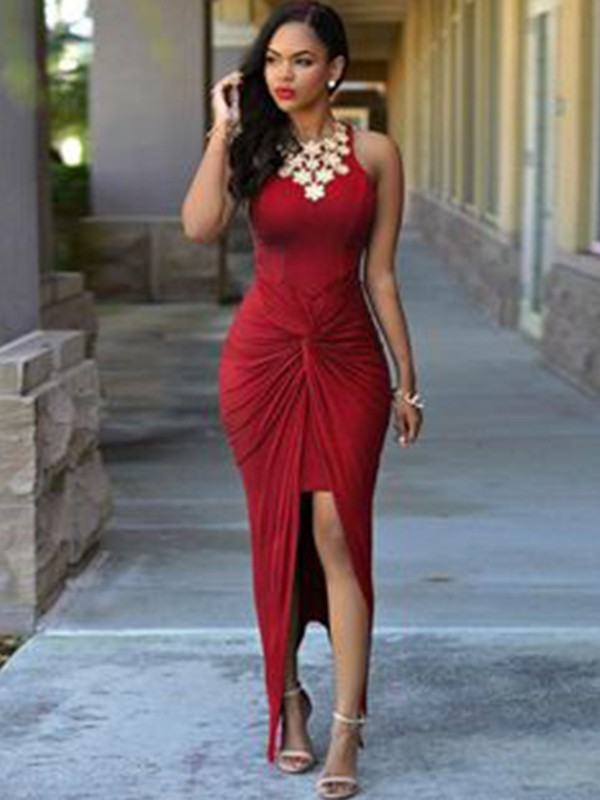Awesome Sheath Jewel Long Spandex With Beading Asymmetrical Dresses