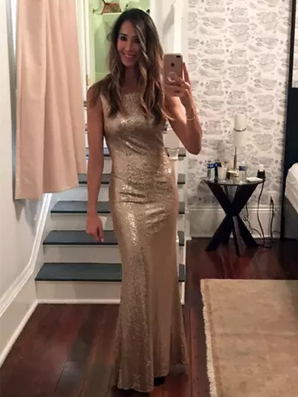 Unique Sheath Bateau Long Sequins Dresses
