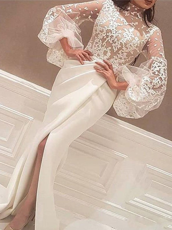 Stunning Mermaid High Neck Cut Long Lace Satin Dresses