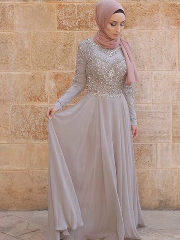 A-Line/Princess Long Sleeves Scoop Sweep/Brush Train Crystal Tulle Muslim Dresses