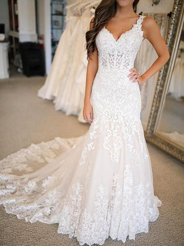 Trumpet/Mermaid Tulle Applique V-neck Sleeveless Sweep/Brush Train Wedding Dresses