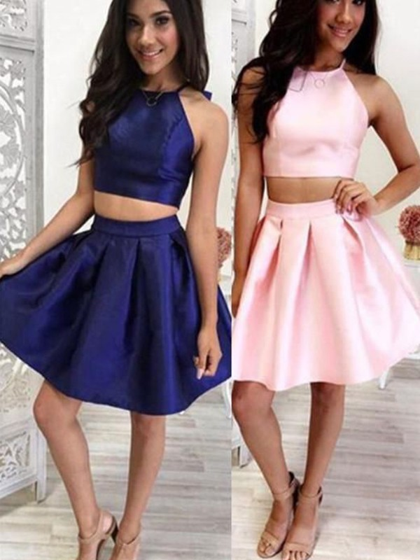 368060d67fd875 A-Line/Princess Satin Ruffles Halter Sleeveless Short/Mini Two Piece  Homecoming Dress