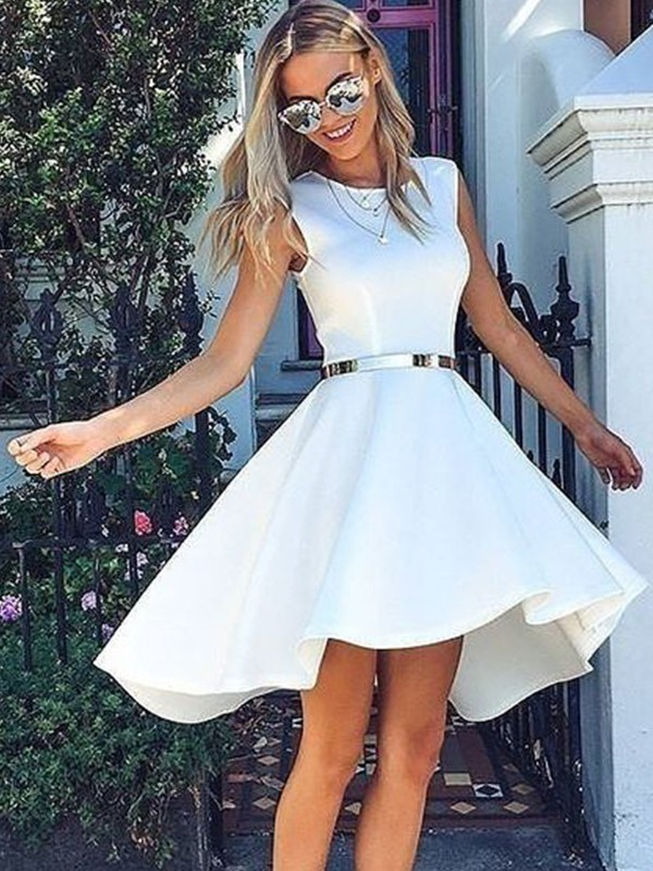 A-Line/Princess Satin Sash/Ribbon/Belt Scoop Sleeveless Short/Mini Homecoming Dresses