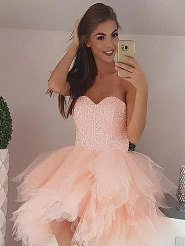 A-Line/Princess Tulle Beading Sweetheart Sleeveless Short/Mini Homecoming Dresses