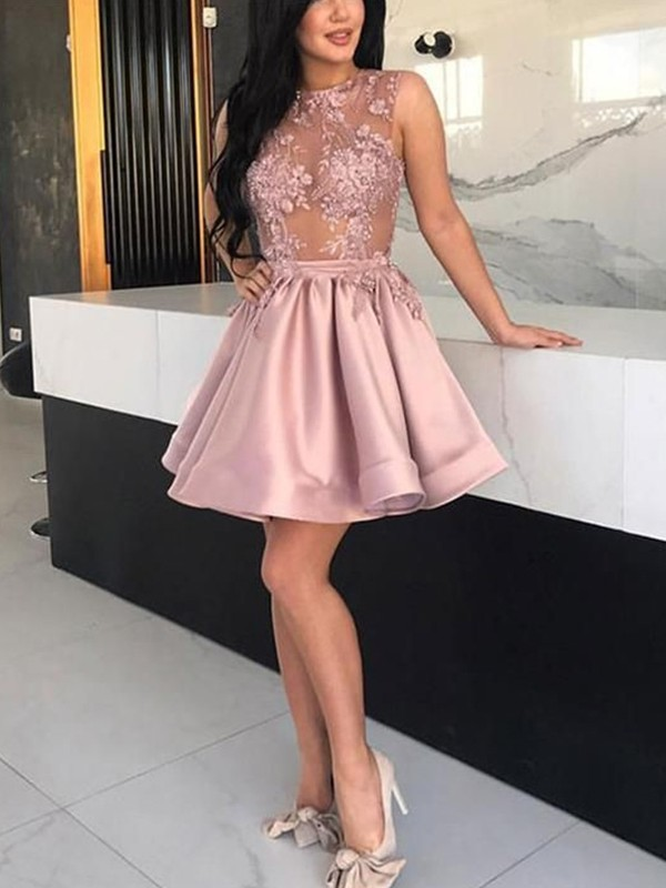A-Line/Princess Satin Applique Sheer Neck Sleeveless Short/Mini Homecoming Dresses