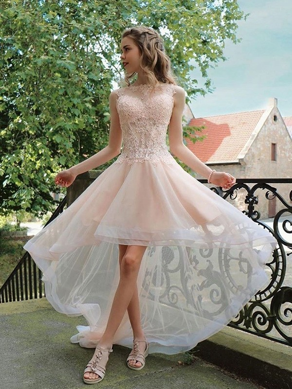 A-Line/Princess Organza Applique Sheer Neck Sleeveless Asymmetrical Homecoming Dresses