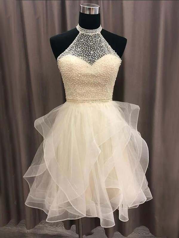 A-Line/Princess Organza Beading Halter Sleeveless Short/Mini Homecoming Dresses